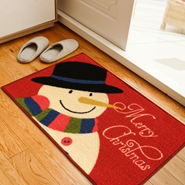 Red Cute Merry Christmas Snowman Pattern Rectangle Water Absorption Decorative Doormat