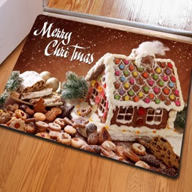 Warm Rectangle Christmas Decoration House Pattern Non Slip Doormat