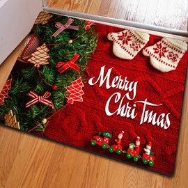 Modern Fashion Design Rectangle Christmas Decorative Felt Doormat