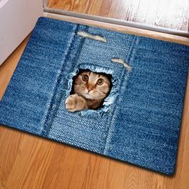 Realistic Rectangle Cute Cat Pattern Home Decorative Non Slip Doormat