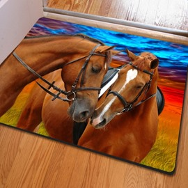 Two Lovey Romantic Horses Print Rectangle Decorative Non Slip Doormat