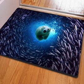 Realistic Rectangle Polar Bear and Fish in the Sea Print Non Slip Doormat