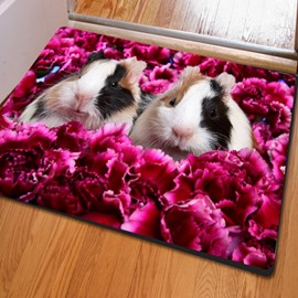 Two Lovely Cute Rabbits Print Rectangle Home Decorative Non Slip Doormat