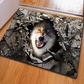 Fancy Rectangle Broken Stone and Wolf Pattern Non Slip Decorative Doormat
