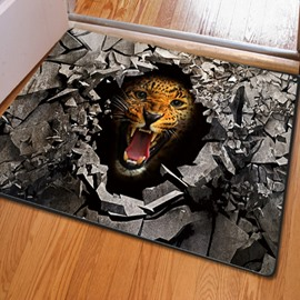 Fearsome Rectangle Broken Stone and leopard Pattern Non Slip Doormat