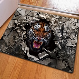 Realistic Rectangle Broken Stone and Tiger Pattern Non Slip Decorative Doormat
