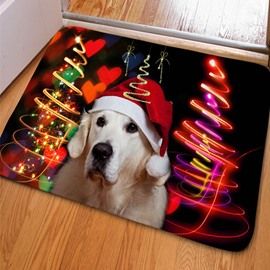Splendid Rectangle Dog with a Hat Print Christmas Decoration Non Slip Doormat