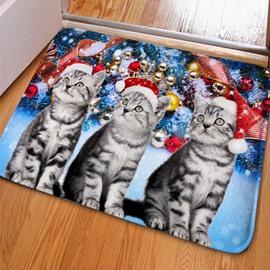 Unique Design Rectangle Three Cute Cats and Jingle Bell Print Non Slip Doormat