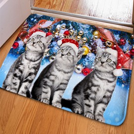 Unique Design Rectangle Three Cute Cats and Jingle Bell Print Non Slip Doormat