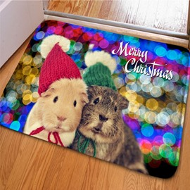 Colorful Rectangle Cute Hamster with Beautiful Hat Print Christmas Decoration Doormat