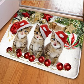 Three Lovely Cute Cats Print Rectangle Non Slip Christmas Decoration Doormat
