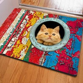 Classic Rectangle Cute Cat Pattern Outdoor Indoor Non Slip Doormat