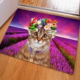 Rectangle Beautiful Flower Cat Print Home Decorative Non Slip Doormat