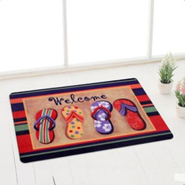 Cute Slipper Pattern Welcome Water Absorption and Anti-skid Doormat