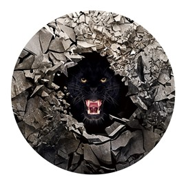 3D Black Bear Opening Mouth and Broken Stones Printed PVC Anti-Skip Doormat