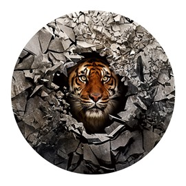 3D Tiger and Broken Stones Printed PVC Anti-Skip and Water Absorption Doormat