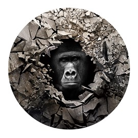 3D Gorilla and Broken Stones Printed PVC Modern Non-Slipping Entrance Doormat