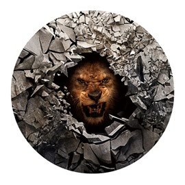3D Fierce Lion and Broken Stones Printed PVC Modern Water Absorption Doormat