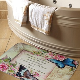 New Arrival Fantastic Butterflies and Letters Print Water Absorption Bath Rug