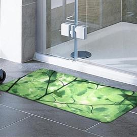 Environmental Branch Leaves Print PVC Bath Rug