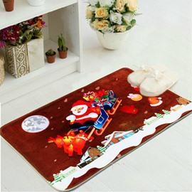 Festival Christmas Theme Santa Claus On Sledge Anti-Slipping Doormat
