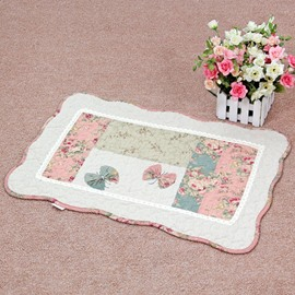Pink Butterfly and Flower Pattern Country Style Decorative Doormat