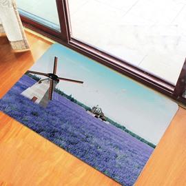 Romantic Lavender Field Printing 3D Skid Resistance Bath Rug