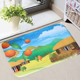 Cartoon Peaceful Village Printing 3D Skid Resistance Bath Rug