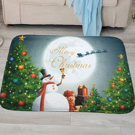 Christmas Theme Snowman Printing Anti-Slipping 3D Bath Rug