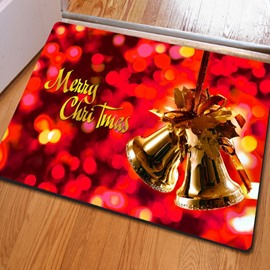 Sparkling Merry Christmas Decoration Jingle Bell Pattern Non Slip Doormat