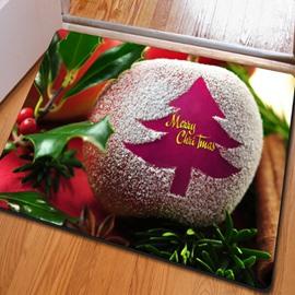 European Style Rectangle Christmas Apple Pattern Decoration Non Slip Doormat