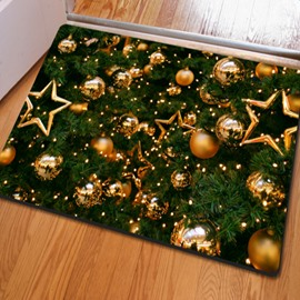 Natural Rectangle Christmas Trees and Balls Pattern Non Slip Doormat