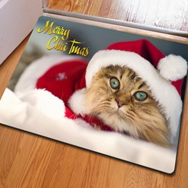 Merry Christmas Cute Cat Pattern Home Decorative Non Slip Doormat