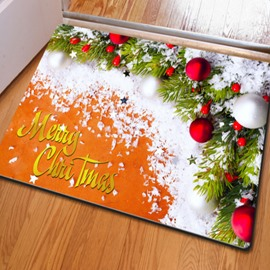 Special Rectangle Christmas Decorative Snow and Red Balls Pattern Non Slip Doormat