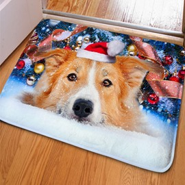 Stunning Rectangle Cute Dog on the Snow Print Christmas Decoration Non Slip Doormat