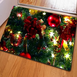 Practical Rectangle Christmas Ribbon and Tree Print Decorative Non Slip Doormat