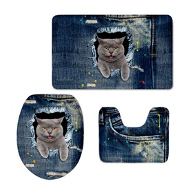 Shorthair Making Faces in the Jean 3D Printing 3-Pieces Toilet Seat Cover