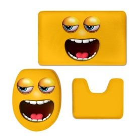 Yellow Funny Grimace Printing 3-Pieces Toilet Seat Cover