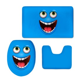 Blue Laughing Face 3D Printing 3-Pieces Toilet Seat Cover