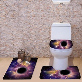 3D Purple Spiral Galaxy Printed Flannel 3-Piece Black Toilet Seat Cover
