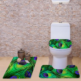 3D Peacock Feather Printed Flannel 3-Piece Green Toilet Seat Cover