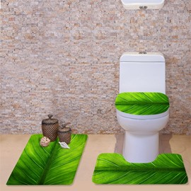 3D Veins of Leaf Printed Flannel 3-Piece Green Toilet Seat Cover