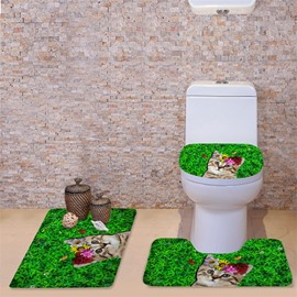 3D Cat in Grassland Printed Flannel 3-Piece Green Toilet Seat Cover