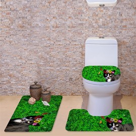 3D Black Cat in Grassland Printed Flannel 3-Piece Green Toilet Seat Cover