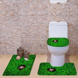 3D Mouse in the Grassland Pattern Flannel 3-Piece Toilet Seat Cover