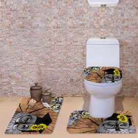 3D Dr.Owl with Daisy Pattern Flannel 3-Piece Toilet Seat Cover