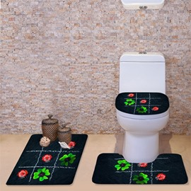 3D Ladybirds and Clovers Printed Flannel 3-Piece Toilet Seat Cover