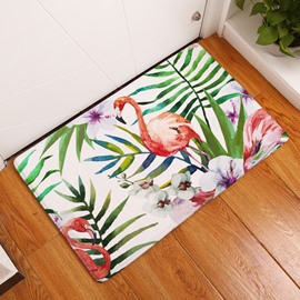 16×24in Flamingo and Tropical Plants Flannel Water Absorption Soft and Nonslip Bath Rug/Mat