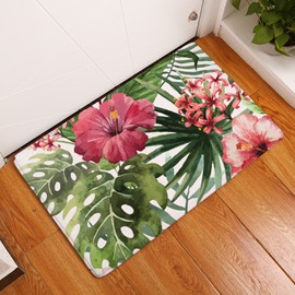 16×24in Red Flowers and Tropical Plants Flannel Water Absorption Soft Nonslip Bath Rug
