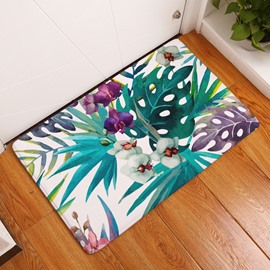 16×24in Tropical Plants and Flowers Flannel Water Absorption Soft and Nonslip Bath Rug/Mat